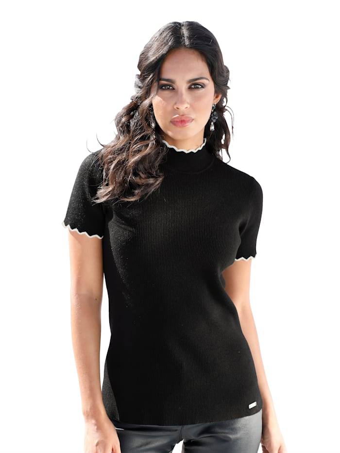 AMY VERMONT Pullover in Rippstrick-Qualität, Schwarz/Weiß
