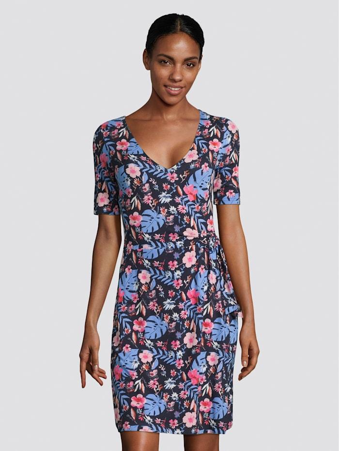 Tom Tailor Jerseykleid mit Blumenprint und Knotendetail, navy watercolor flower design