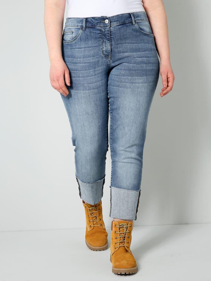 Sara Lindholm Jeans mit breitem Umschlag am Saum, Blue stone