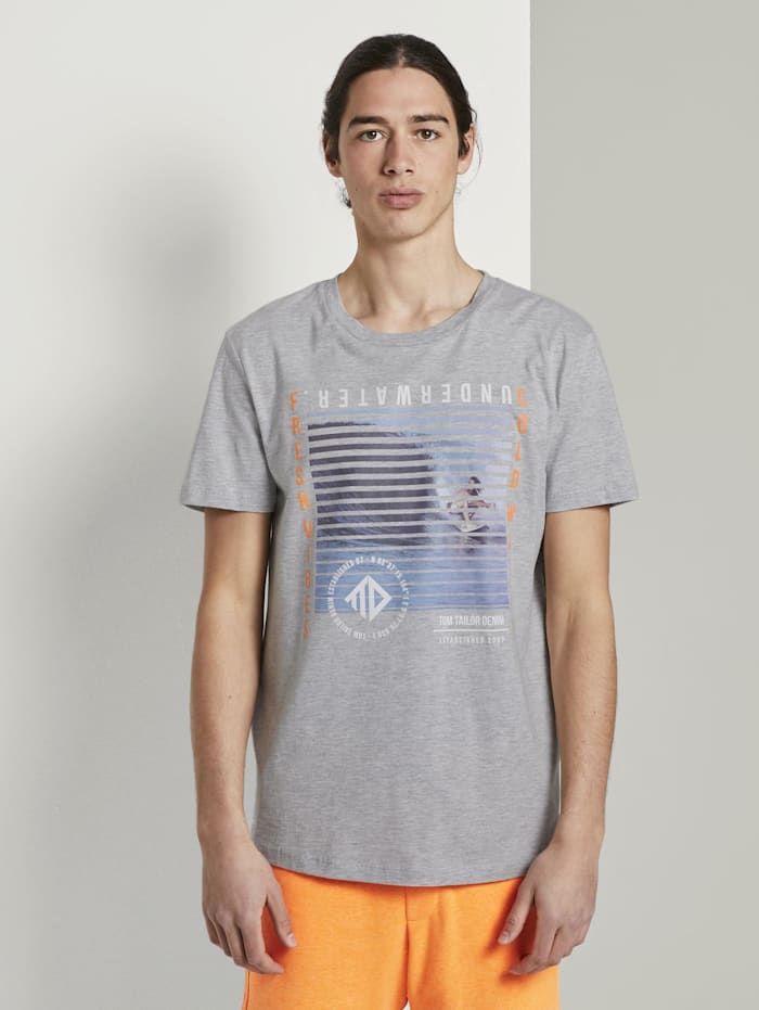 Tom Tailor Denim T-Shirt mit Fotoprint, Light Stone Grey Melange