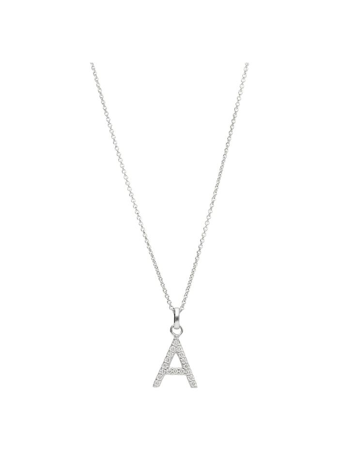 Smart Jewel Kette Buchstabe A mit Zirkonia Steine, Silber 925, Silber
