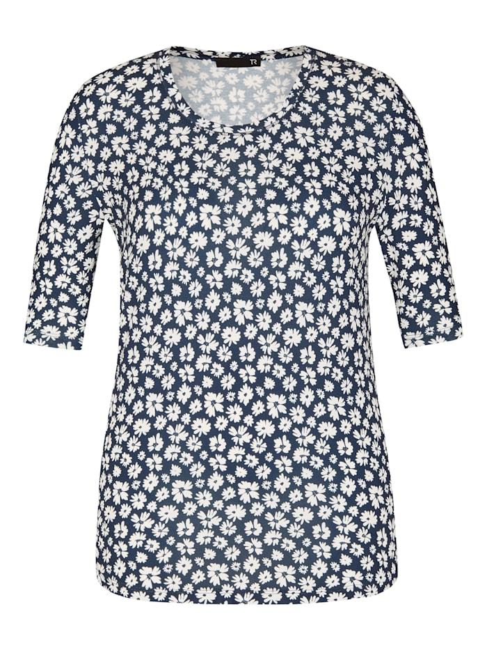 Thomas Rabe Rundhalsshirt mit floralem Muster, MARINE