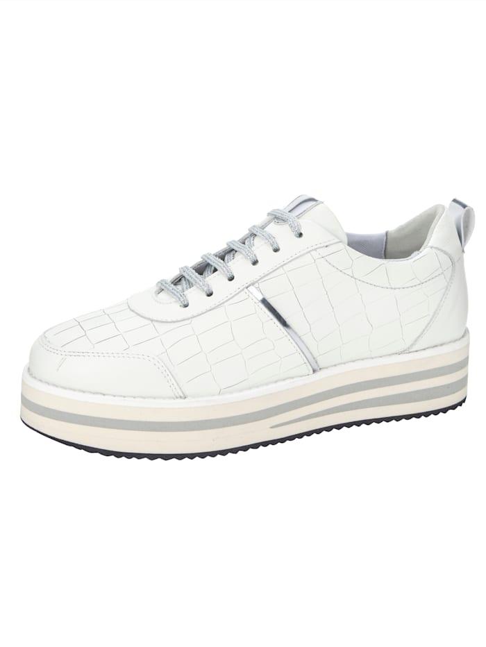 Sneakers à plateau à ravissant jeu de matières, Blanc