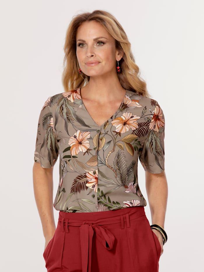 MONA Bluse mit floralem Druck, Oliv/Apricot/Grün