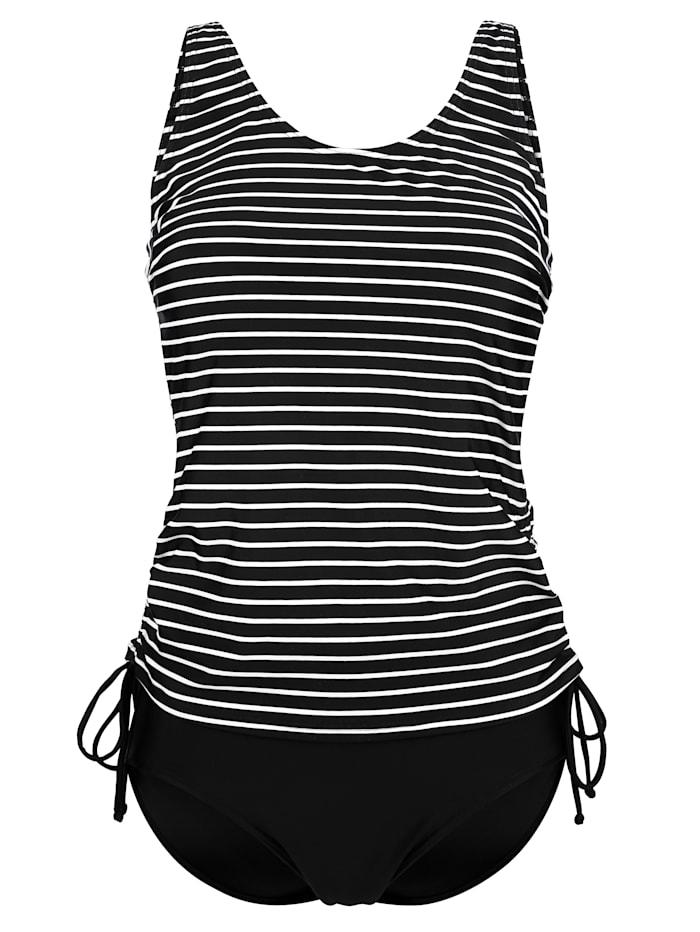 Maritim Tankini mit regulierbaren Seitenbändern, schwarz/weiß
