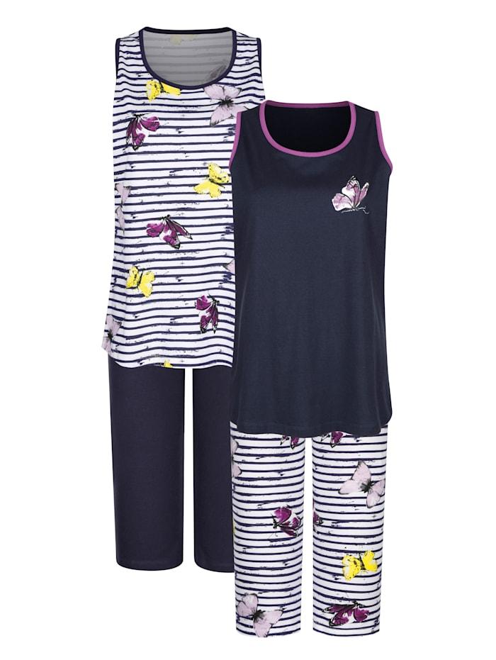 Harmony Pyjama's per 2 stuks met ingeweven dwarsstrepen en leuke print, Wit/Marine/Fuchsia