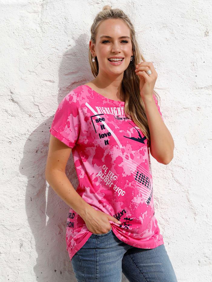 MIAMODA Shirt met opschriften, Pink/Marine