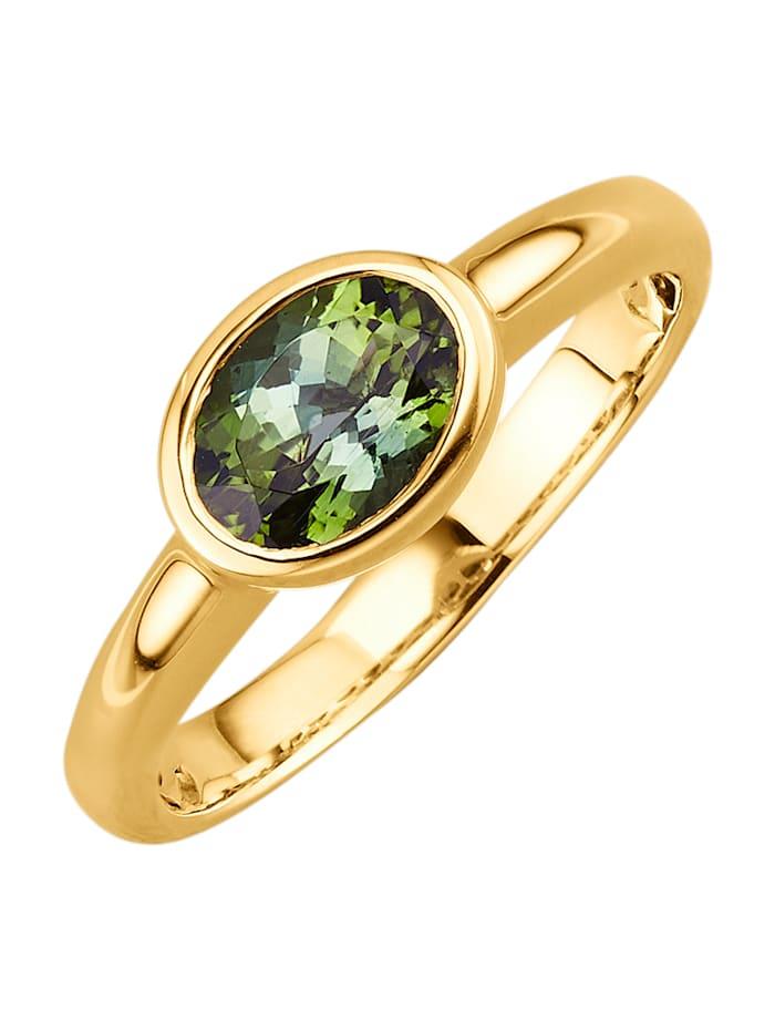 Amara Pierres colorées Bague en or 585, Vert