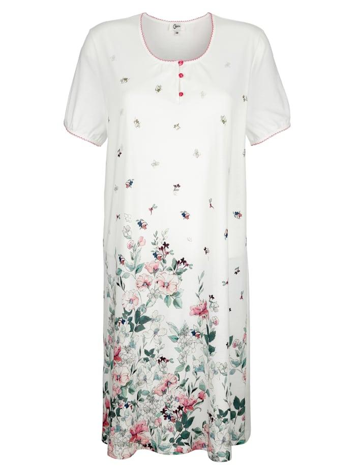 MONA Nachthemd aus dem Cotton made in Africa Programm, Weiß/Lindgrün/Rosé