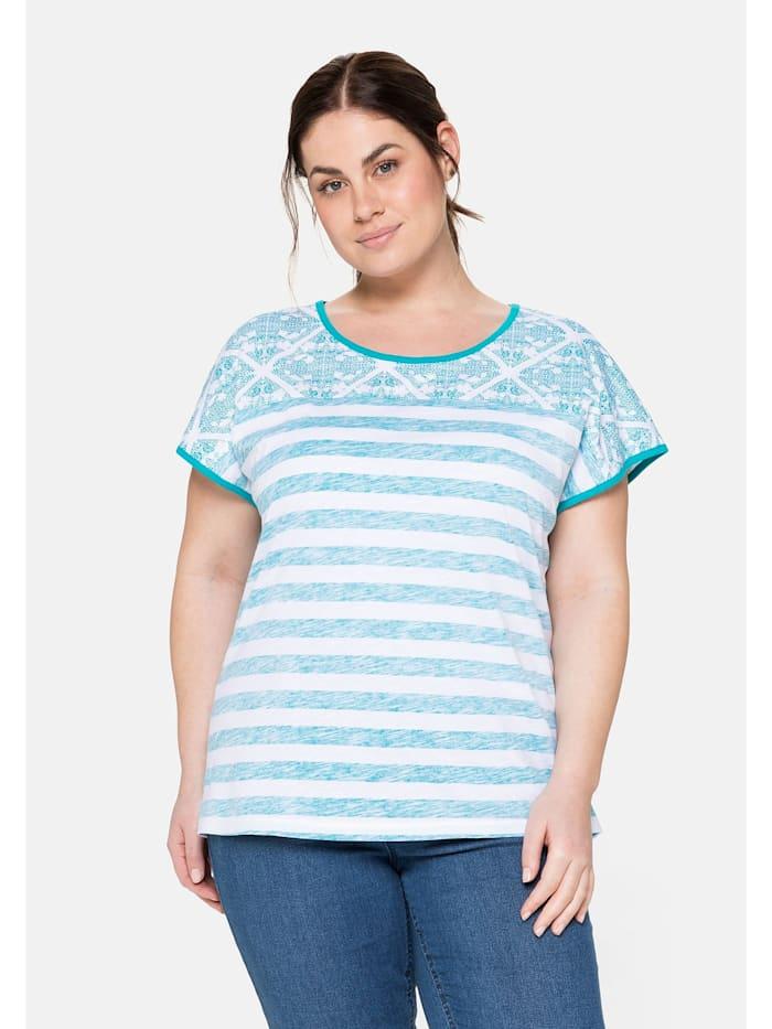 Sheego T-Shirt im Mustermix, mit Rundhalsausschnitt, weiß bedruckt