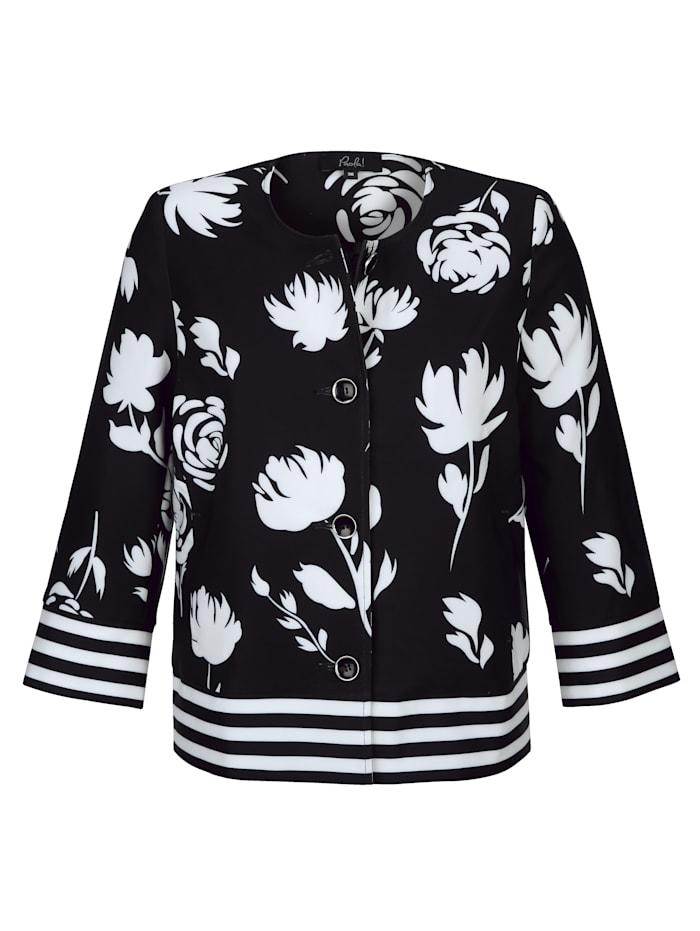 Paola Blazer met bloemendessin, Zwart/Wit