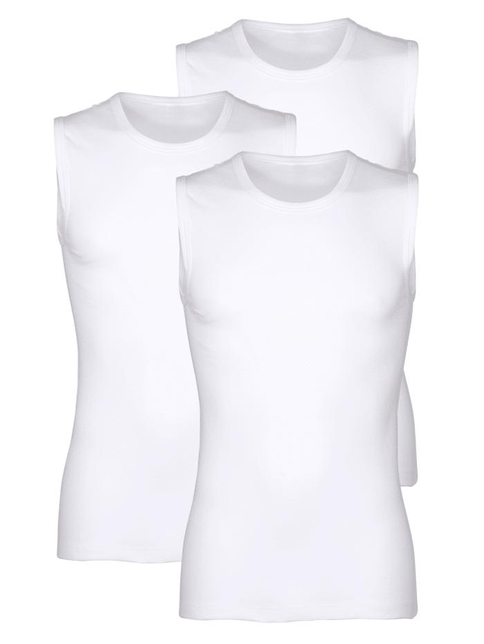 Mouwloze shirts per 3 stuks van merkkwaliteit, Wit