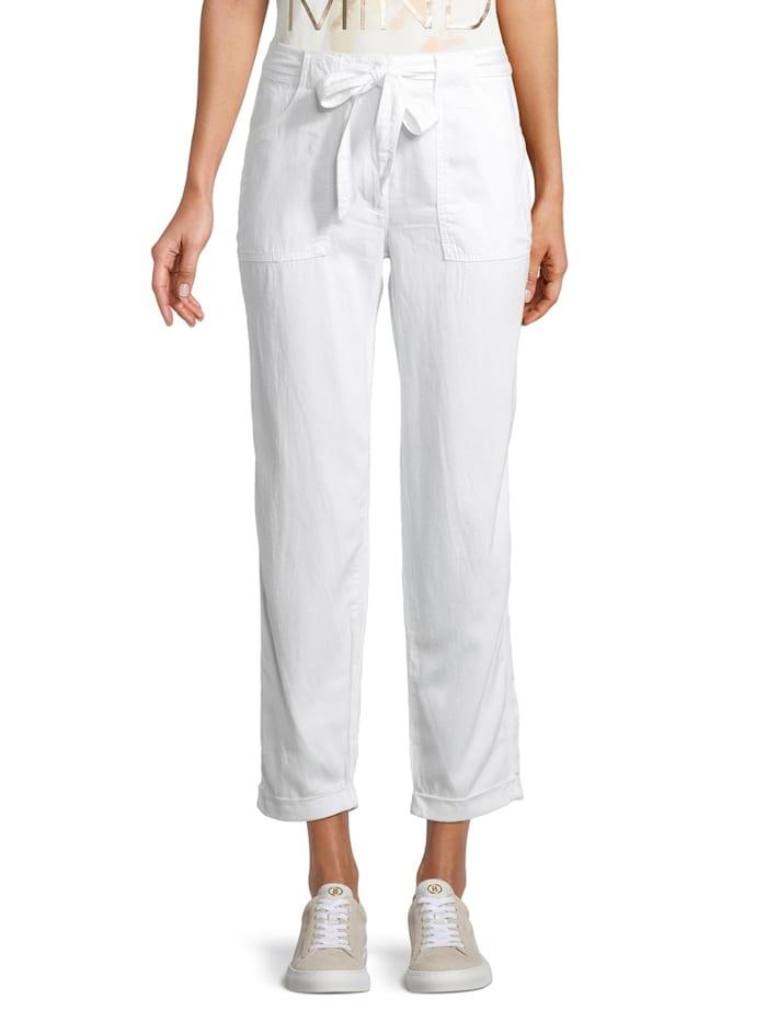 Betty & Co Casual-Hose mit Gürtel, Weiß