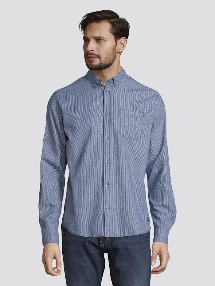 Tom Tailor Gestreiftes Hemd mit Brusttasche, blue with white thin stripe