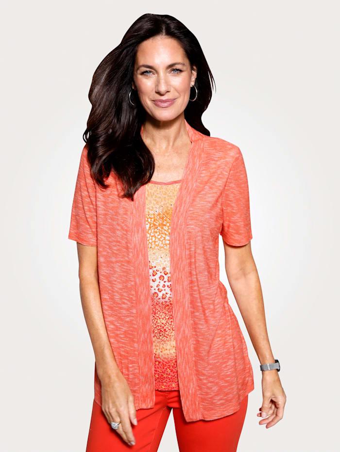 MONA 2-in-1 Shirt mit Strasssteinen, Apricot/Orange