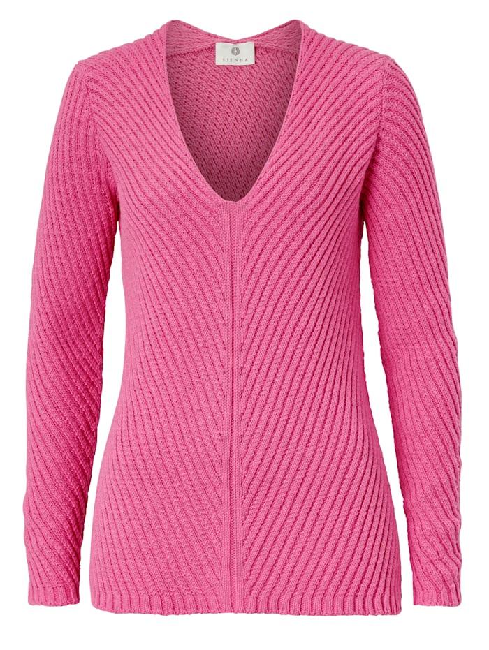 SIENNA Pullover Strukturstrick, Pink