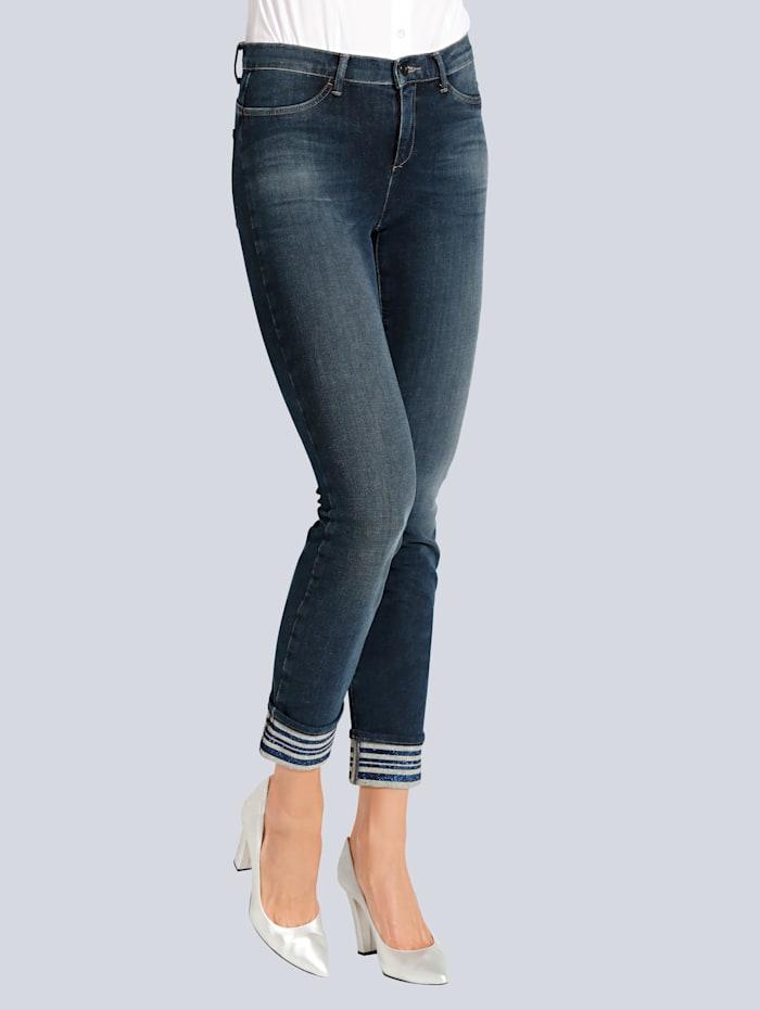 Jeans mit Glitzereffekt am Saum