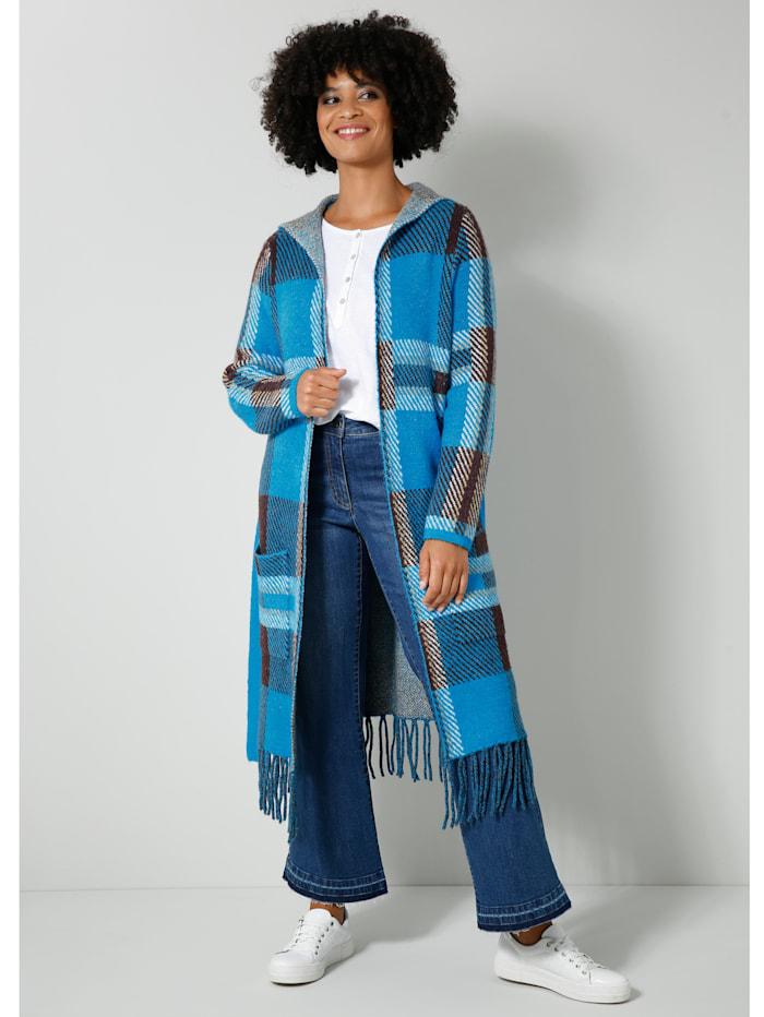 Angel of Style Vest met modieuze franjes, Blauw/Bruin/Offwhite