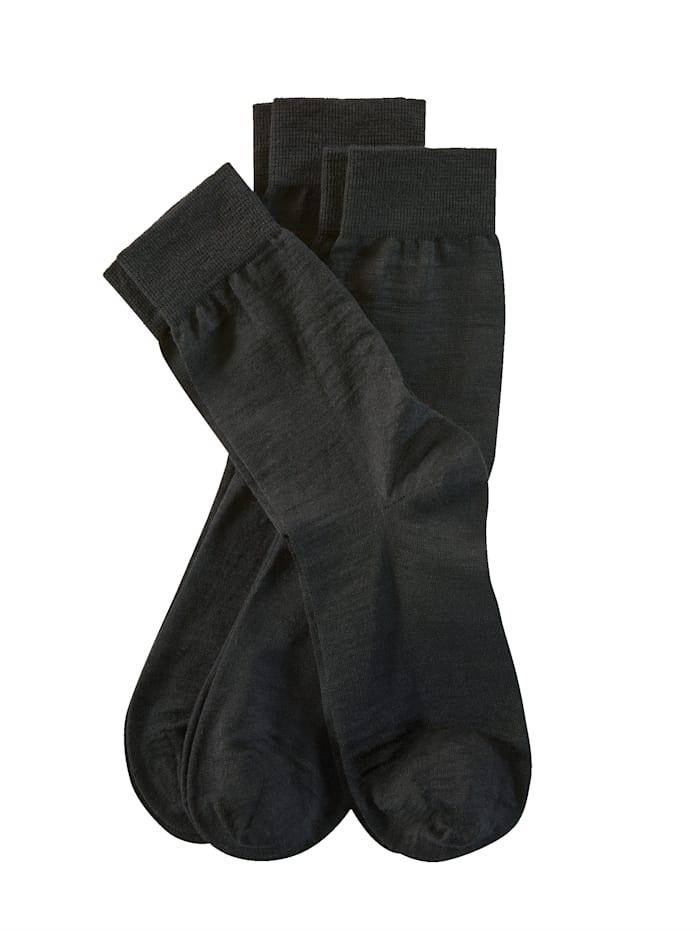 Weissbach Chaussettes à pointes remaillées main, Noir