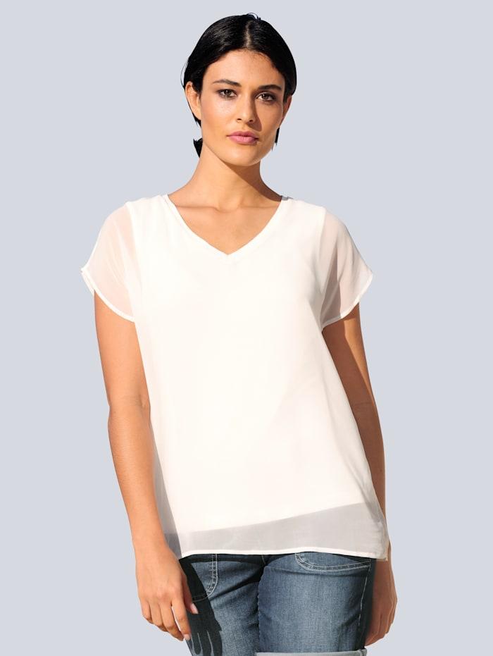 Alba Moda Bluse in transparenter Chiffonqualität, Off-white