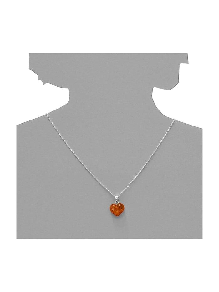 Kette mit Anhänger - Herz 16 mm - Silber 925/000 - Bernstein