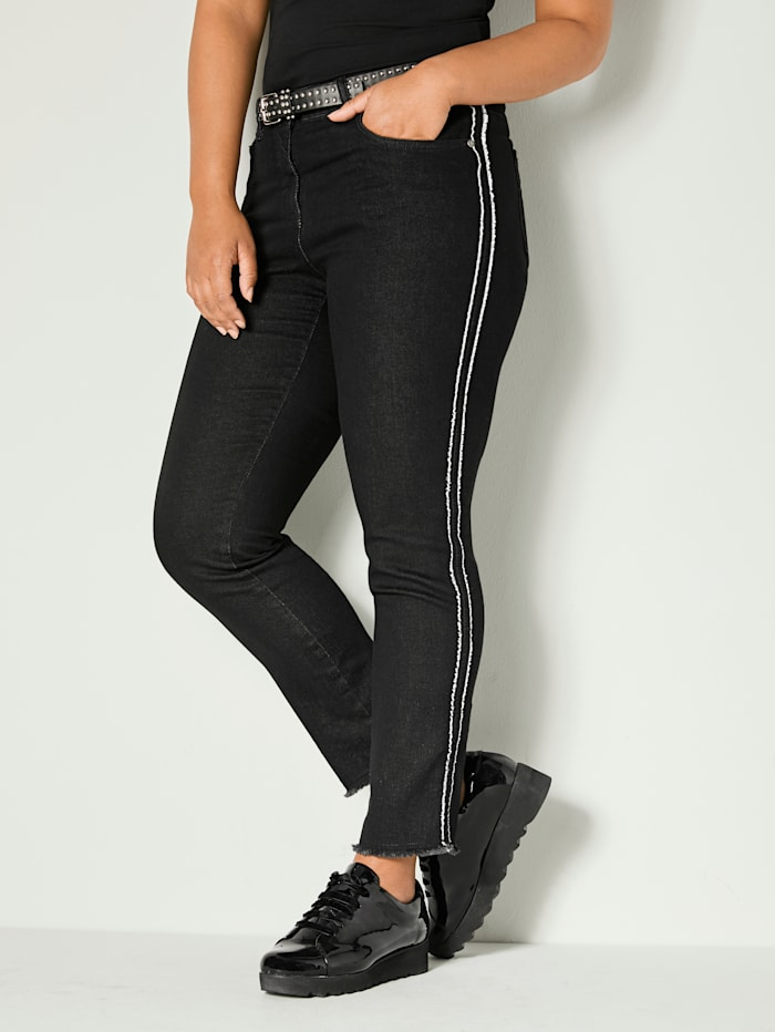Angel of Style Slim Fit Jeans knöchellang mit Fransensaum, Schwarz