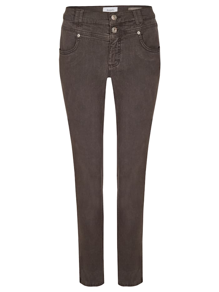Angels Jeans 'Skinny Button' in Coloured Denim, dark brown used