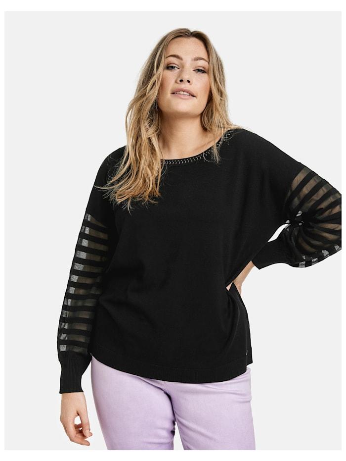 Pullover mit transparentem Streifen-Design