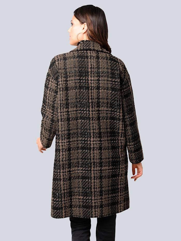 Mantel mit modisch langer Fransenverarbeitung aus Kunstleder