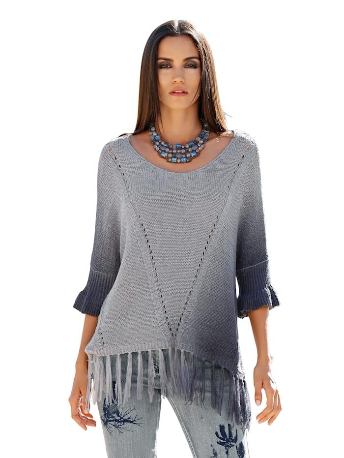 AMY VERMONT Pullover mit Fransendetails, Grau/Blau