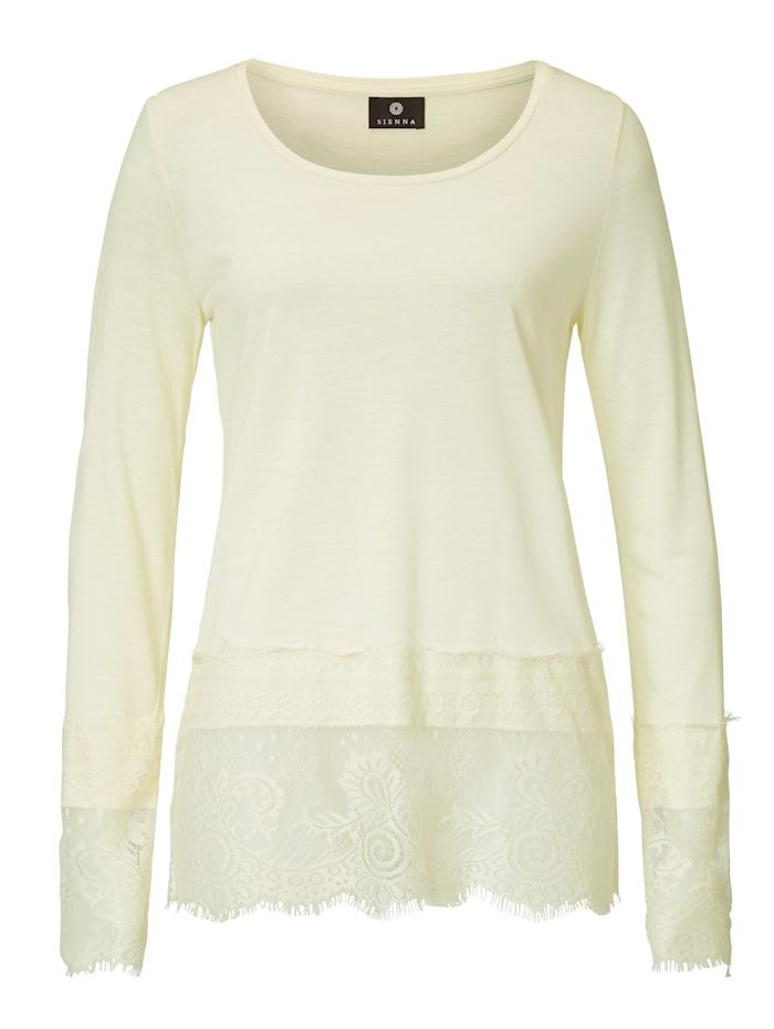 SIENNA Langarmshirt mit Spitzensaum, Off-white