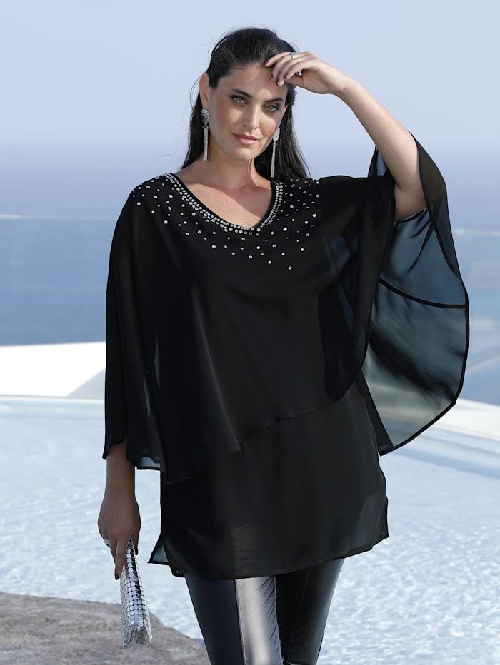 MIAMODA Tunique avec strass, Noir