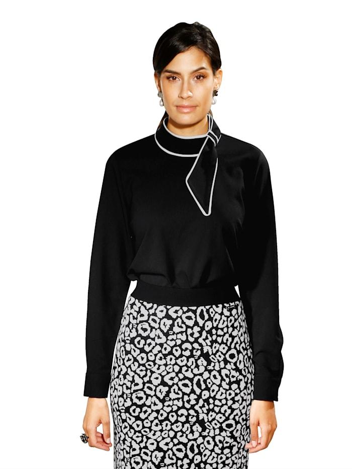 AMY VERMONT Bluse mit dekorativer Schlaufe, Schwarz/Off-white