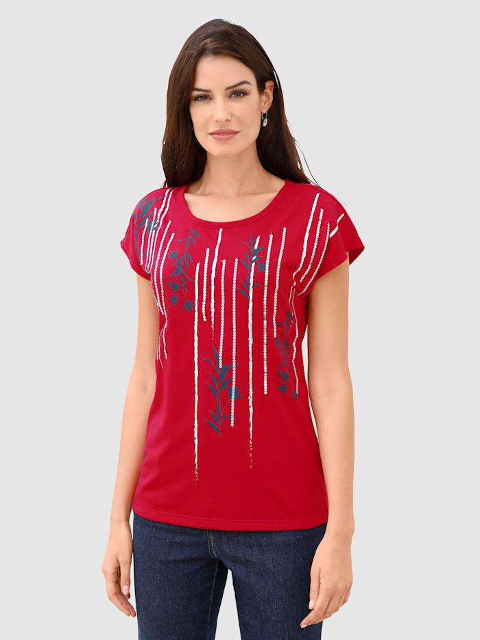 Paola T-shirt à imprimé brillant de coloris argenté, Rouge
