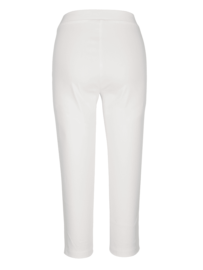 Capri kalhoty s dekorativním prvkem a nýty na lemu přední části