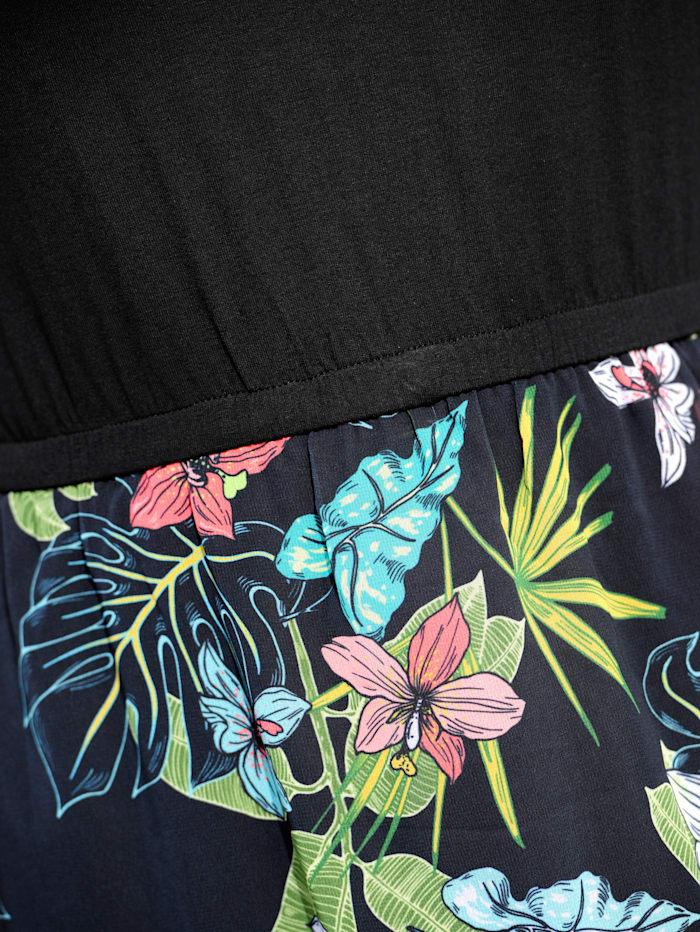 Alba Moda Strandkleid mit Oberteil in Shirtform, Schwarz-Bunt
