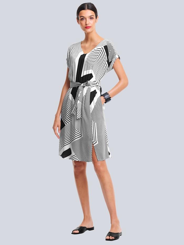 Alba Moda Kleid im grafischen Print allover, Schwarz/Off-white
