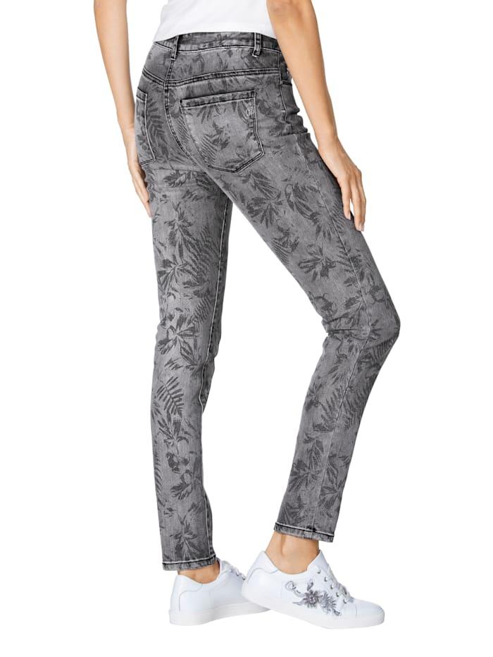 Jeans mit allover Blätterdruck