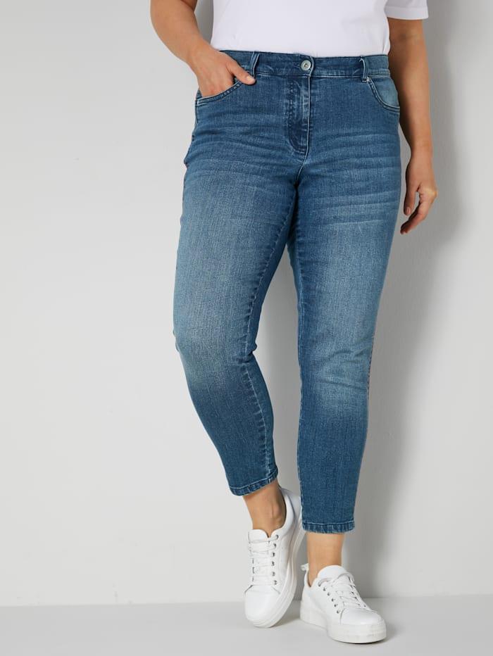 Janet & Joyce Jeans met modieuze galonstrepen, Blue stone/Rood
