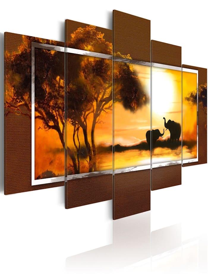 artgeist Wandbild Treffen an der Savanne, Orange,Braun,Creme,Gelb