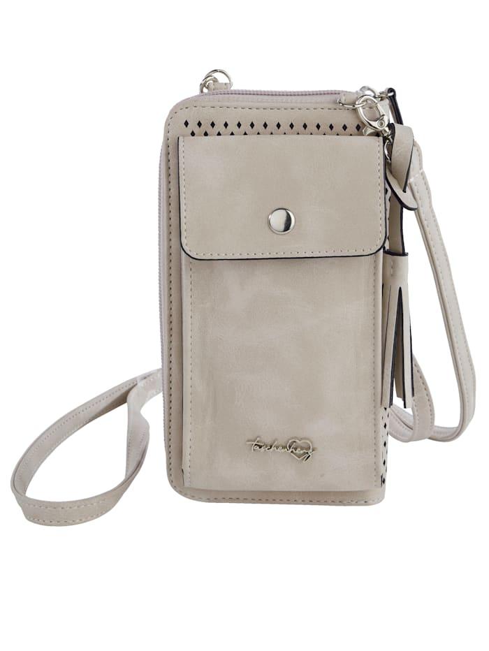 Taschenherz Phone bag with purse compartments, Ecru