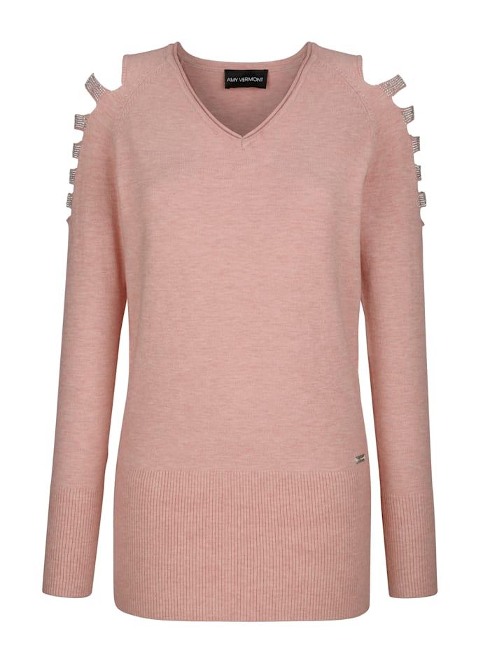Pullover mit Cut-Outs und Strasssteindeko