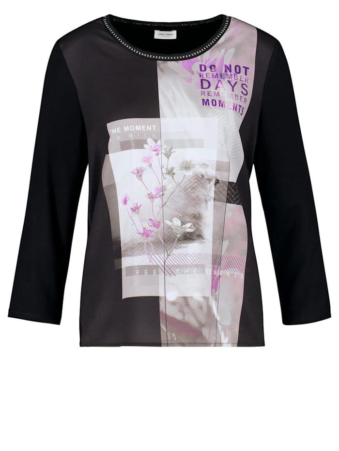 Gerry Weber 3/4 Arm Shirt mit Frontmotiv, Schwarz Druck