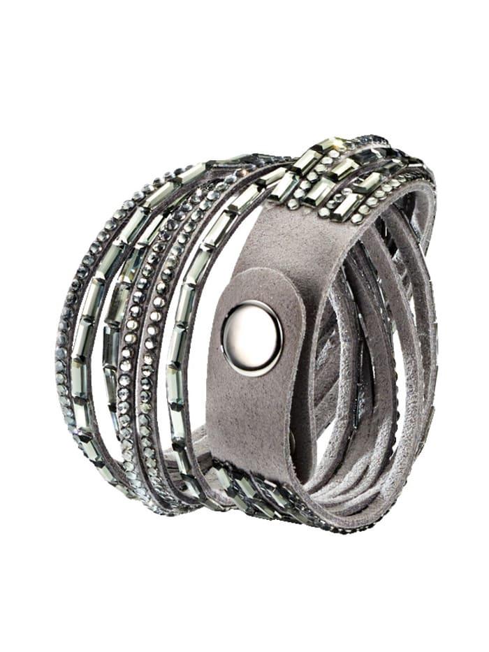 Wickelarmband mit Kristallen, Grau