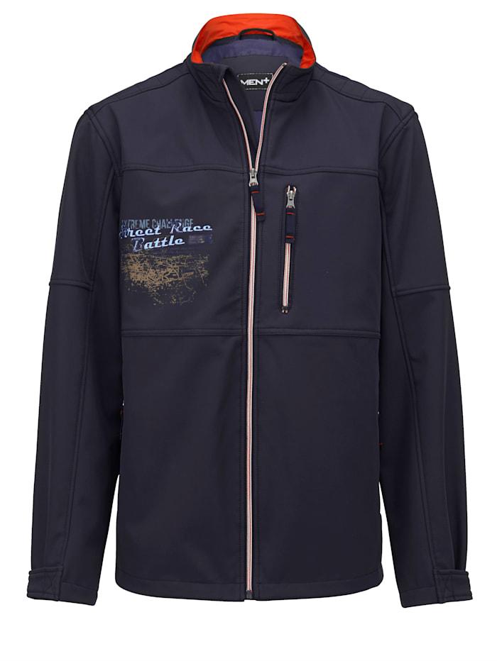 Men Plus Softshell jas met speciale pasvorm, Marine/Roest