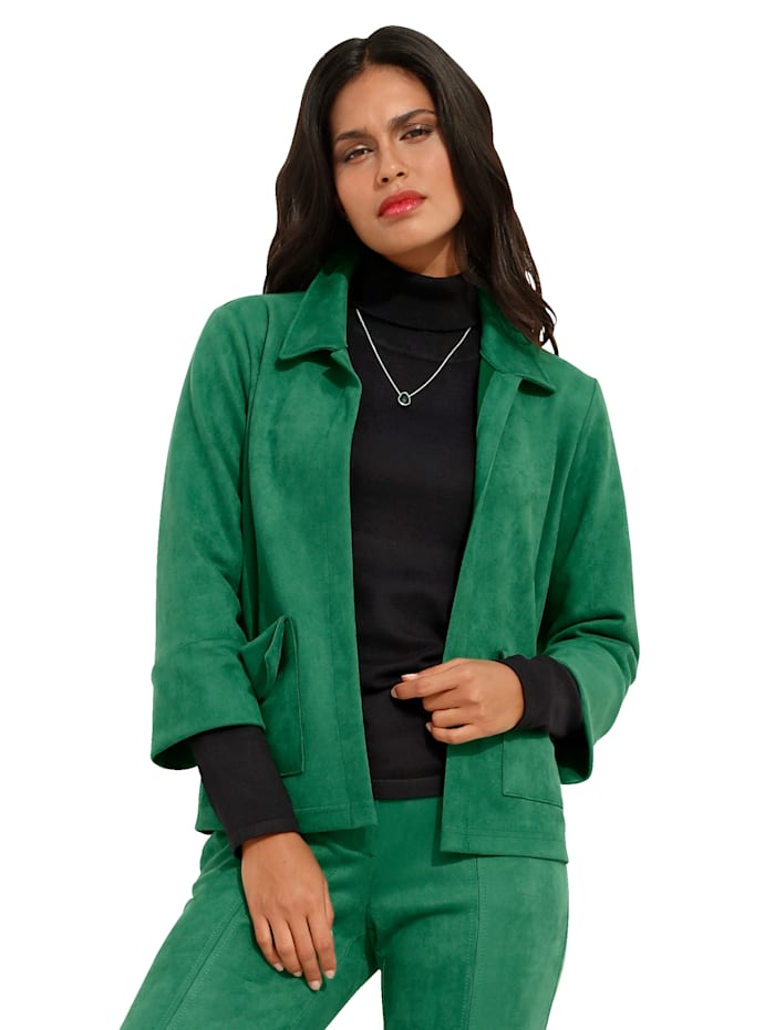 AMY VERMONT Lederimitat-Jacke in verschlussloser Form, Grün