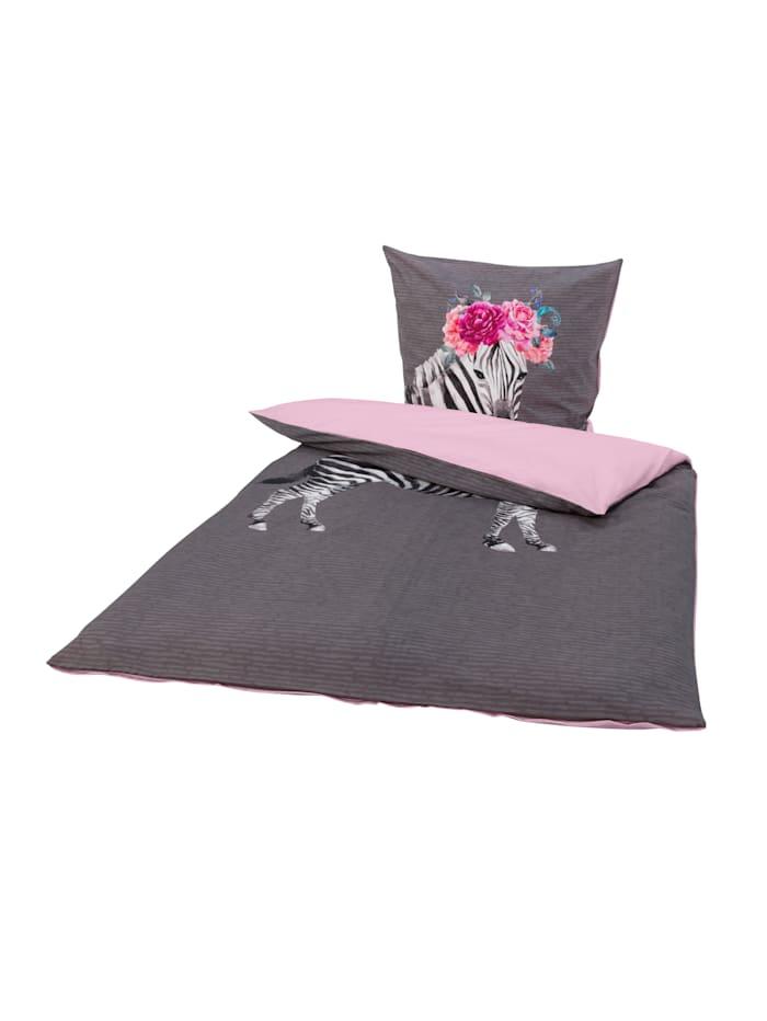 IMPRESSIONEN living Bettwäsche, Zebra, grau/rosa