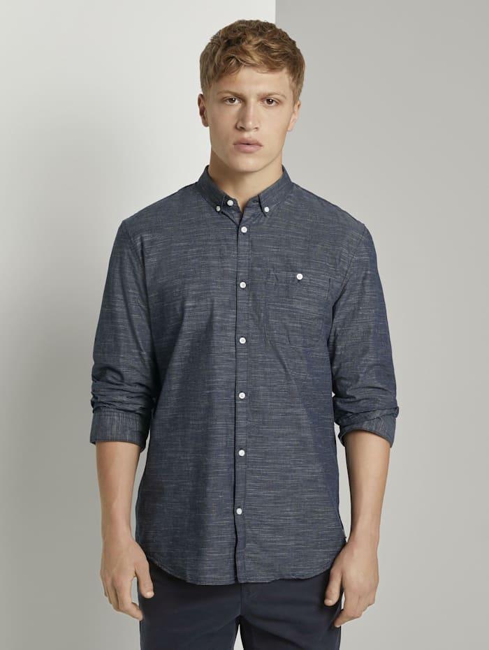 Tom Tailor Denim Hemd mit 3/4-Arm, blue slub stripe