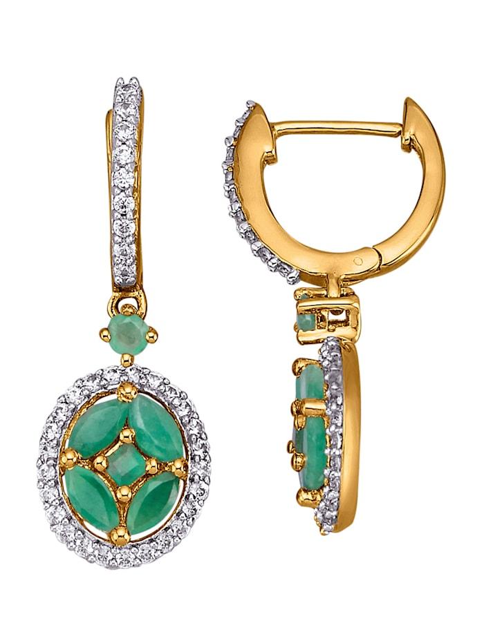 Ohrringe mit Smaragden, Grün