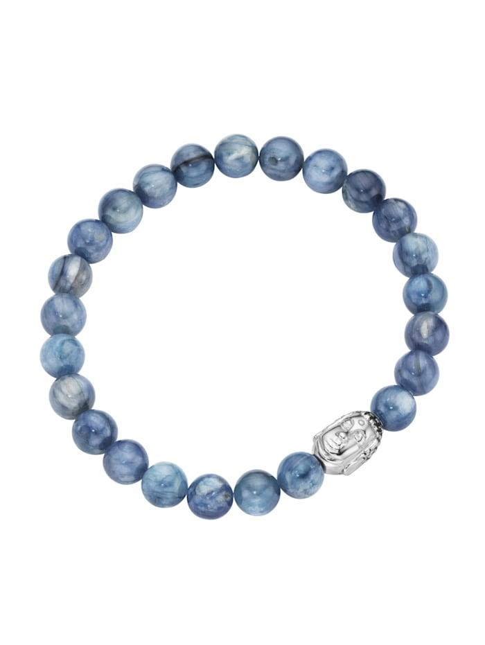 Giorgio Martello Armband Kyanit-Kugeln mit Buddha-Kopf, Silber 925, Blau